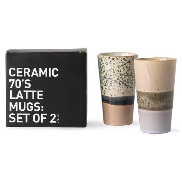 Bilde av HKliving 70s ceramics latte mugs 2 pk